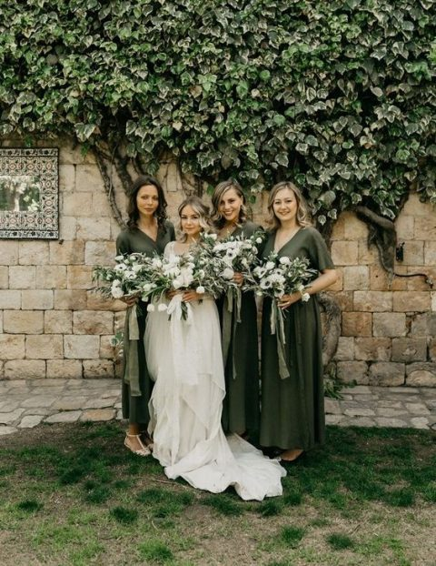 olive green midi dresses with V-necklines for a green and white wedding