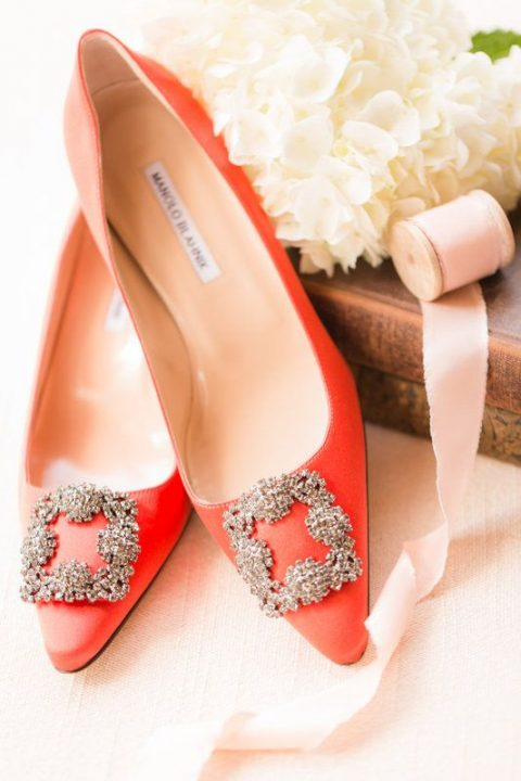 orange embellished wedding shoes by Manolo Blahnik for a classic glam touch