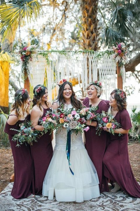 purple-colored mismatching maxi dresses for a fall boho wedding