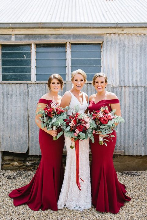 ruby red off the shoulder mermaid bridesmaids_ dresses for a colorful statement