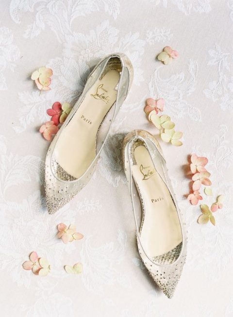 sheer pointed toe flats with embellishments for a sparkly touch