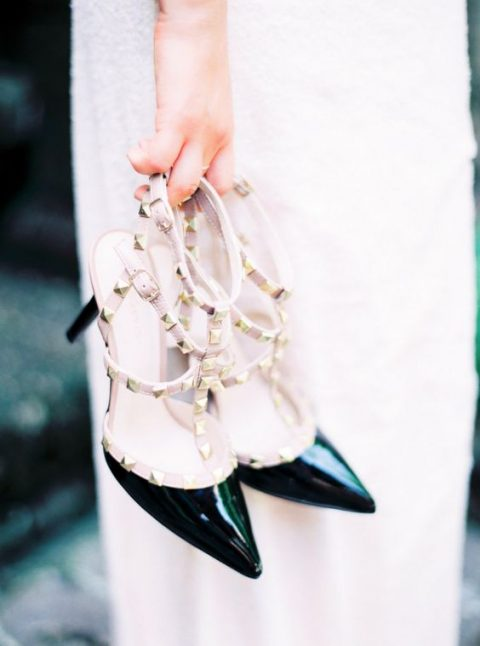 studded shoes are a trend, and such black studded heelsby Valentino are a chic idea