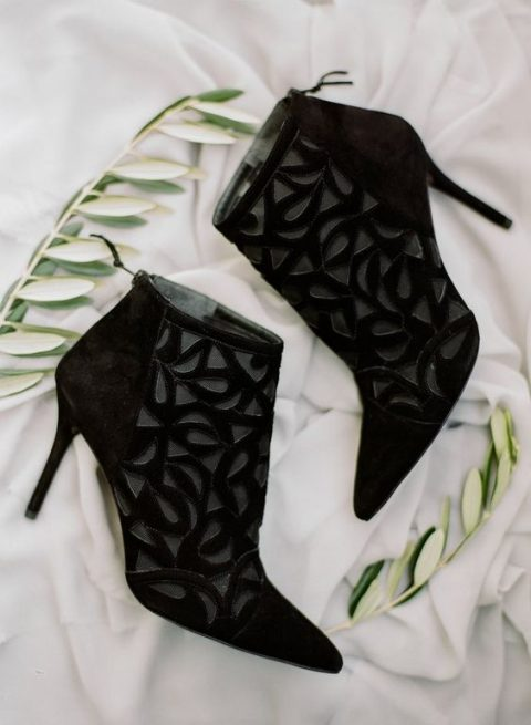 stunning laser cut wedding booties will be a chic statement for a modern wedding