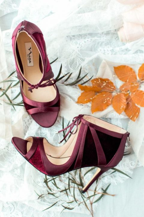 stunning plum and burgundy velvet bridal shoes for a wow look
