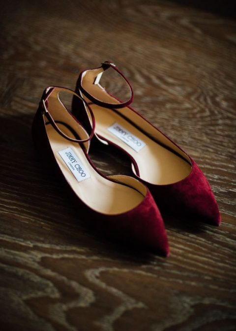 stylish maroon velvet flats with ankle straps