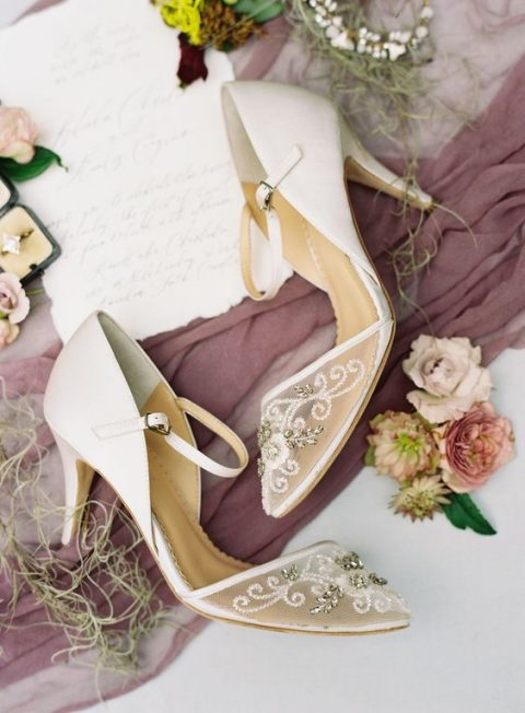 white wedding heels with a sheer embellished part for timeless elegance