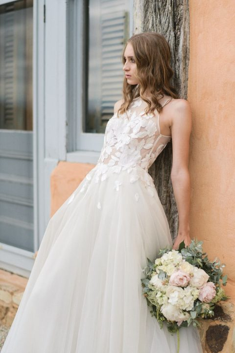 05 the second dress was a halter neckline one with a lace bodice and a layered skirt