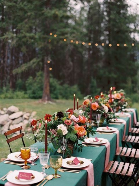 a colorful jewel tone wedding tablescape for a fall mountain wedding