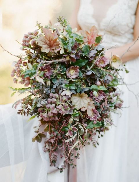a moody fall wedding bouquet i the shades of green and brown