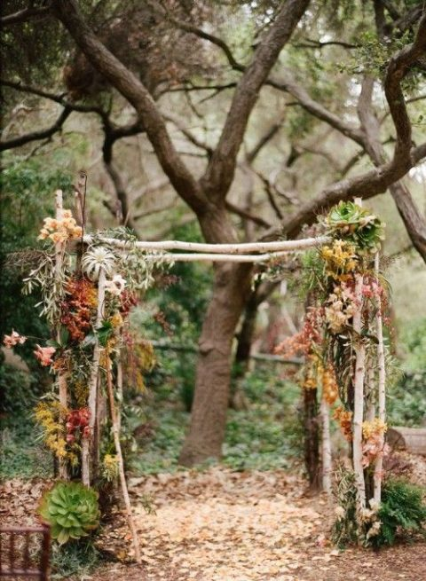 a woodland wedding arch with fall leaves and air plants