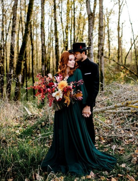 an emerald wedding gown and a bold fall wedding bouquet to embrace the season