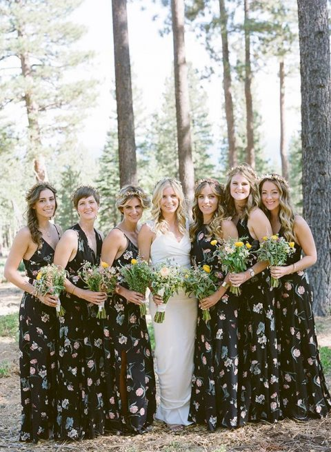 black floral maxi gowns with mismatched necklines