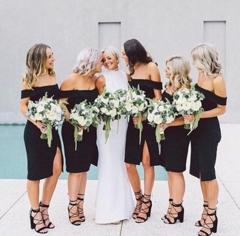 black off the shoulder knee dresses with front slits and black strappy shoes