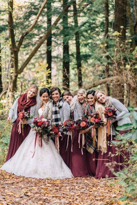 burgundy bridesmaid dresses and checked scarves as coverups