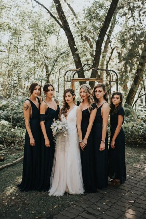 chic mismatched black bridesmaid maxi gowns