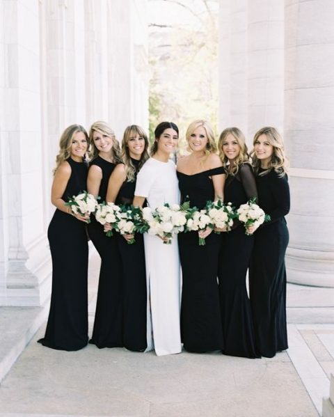 chic plain black dresses with different necklines for a polished touch