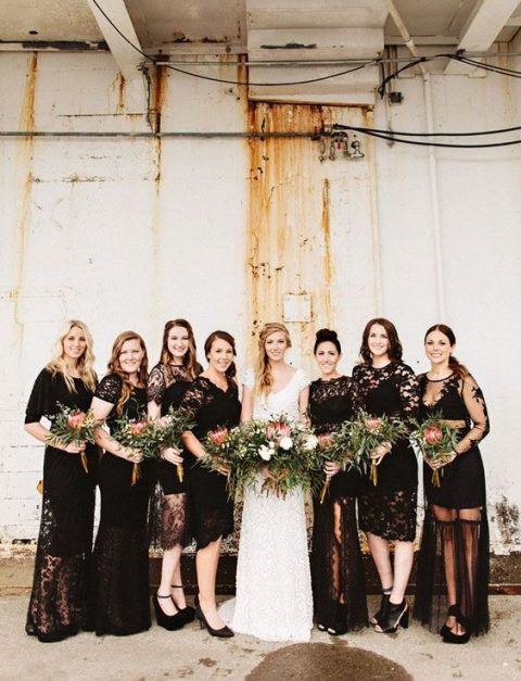 mismatched black lace dresses for an edgy bridal party look