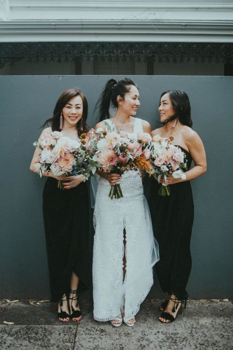 strapless black midi bridesmaid dresses with high low skirts