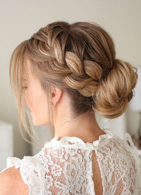a French braid and a low bun, a bump and some locks down is ideal for many bridal styles