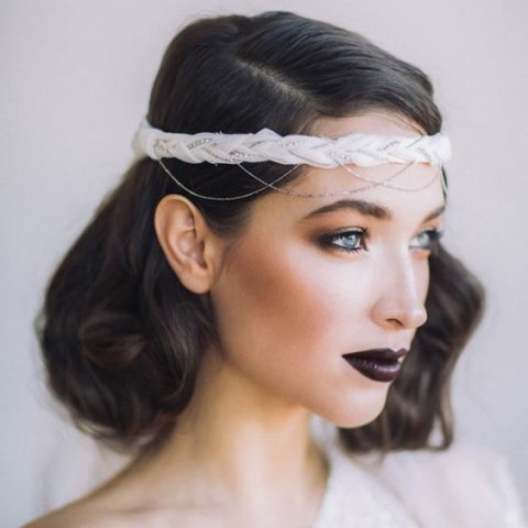 a black bridal lip, subtle smokeys for a wow effect