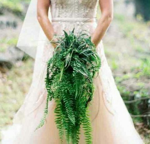 a cascading greenery wedding bouquet of fern