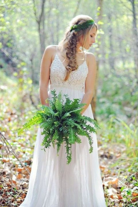 a fern wedding bouquet plus a matching crown