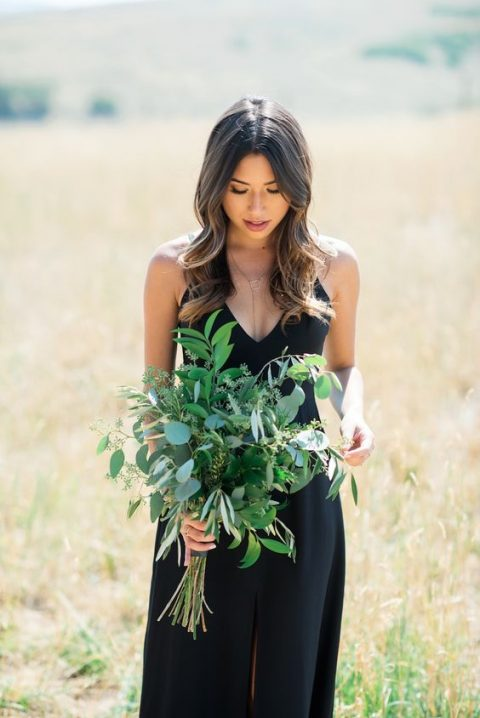 a foliage wedding bouquet is a great idea for a bridesmaid