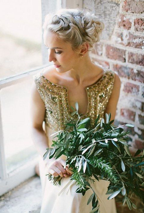 a rich herb wedding bouquet is an elegant idea