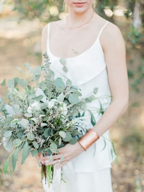 a silver eucalyptus and some herbs wedding bouquet