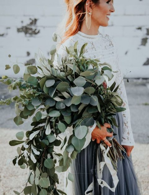 a super lush cascading greenery wedding bouquet