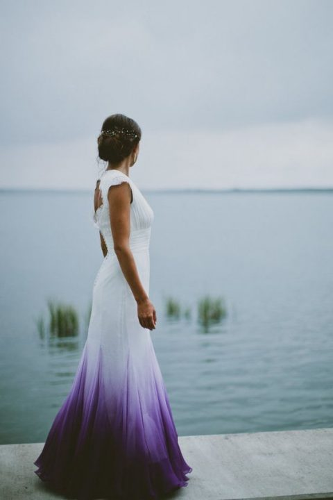 a trendy wedding dress with a purple ombre skirt will make a statement
