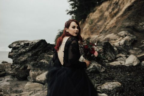 aubrun bridal hair and a black lip for a Gothic romance look