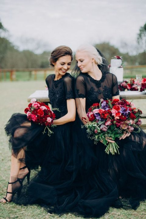 black gowns with lace appliques and embellishments and sheer bodices