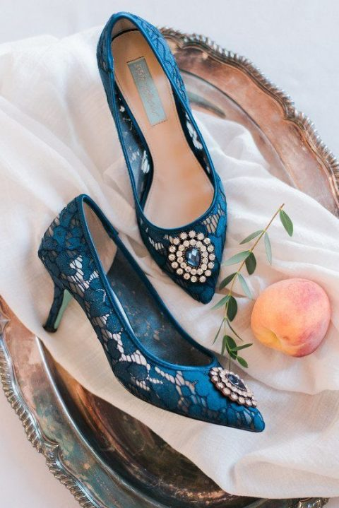blue lace wedding shoes with vintage-inspired embellishments