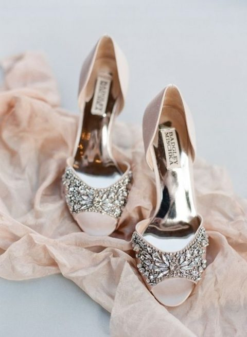blush peep toe wedding shoes with heavily embellished tops