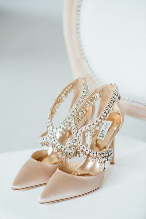 blush velvet wedding shoes with a lot of embellishments