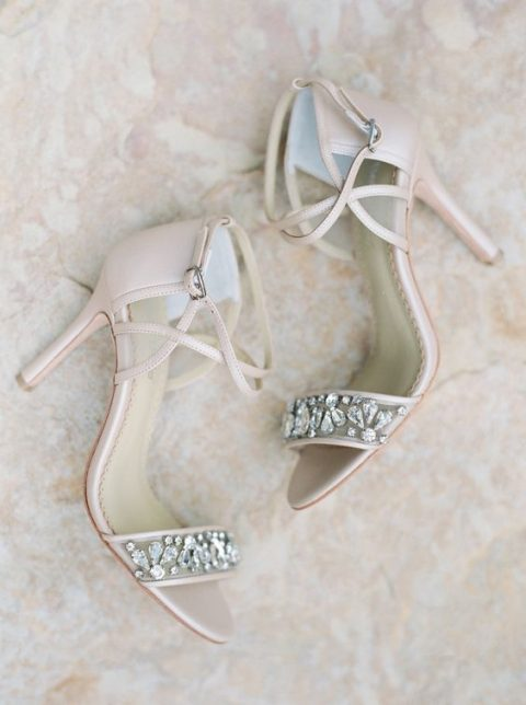 blush wedding shoes with straps and embellished straps