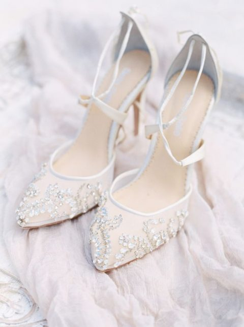 chic sheer wedding shoes with gold rhinestons and straps