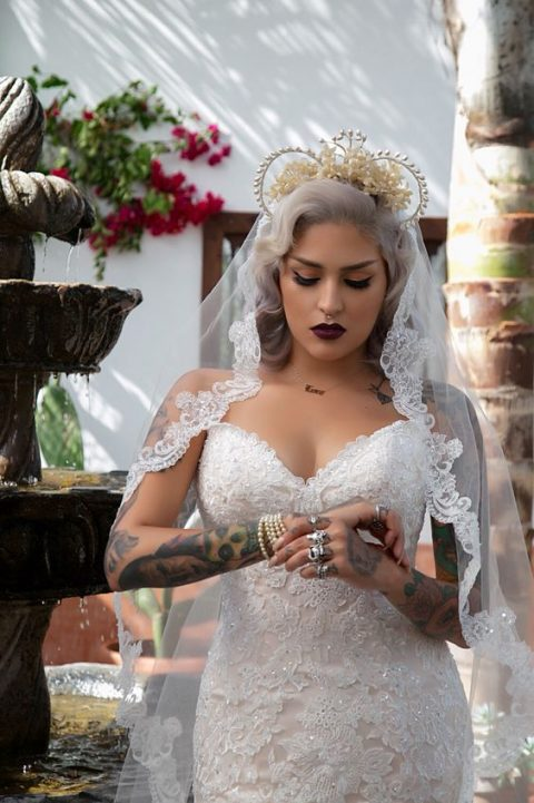 create your royal wedding look with a gorgeous crown and a dark lipstick