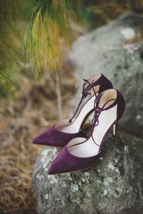 gorgeous deep purple suede strappy wedding shoes