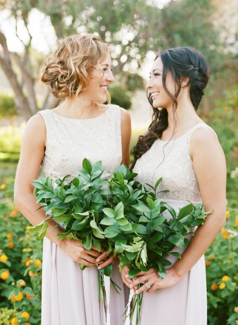lush foliage bouquets for bridesmaids