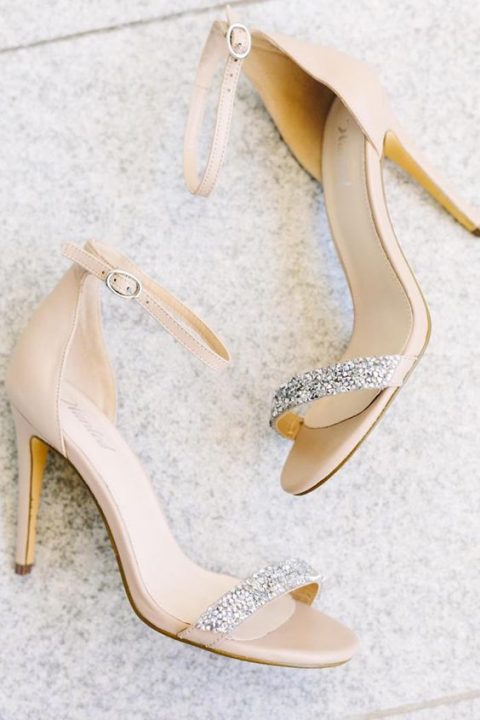 nude wedding sandals with embellished tops