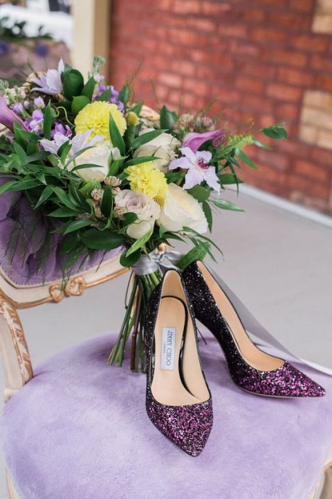 ombre purple to black glitter wedding shoes