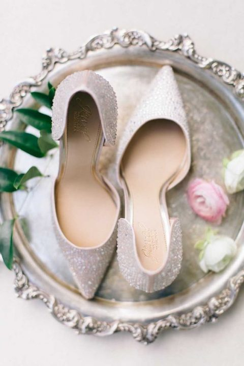pearly heavily embellished wedding heels with pointed toes