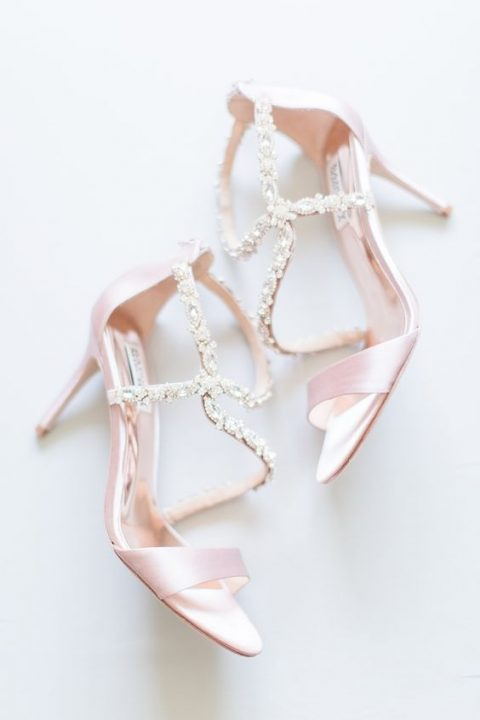 pink wedding shoes with beautifully embellished straps