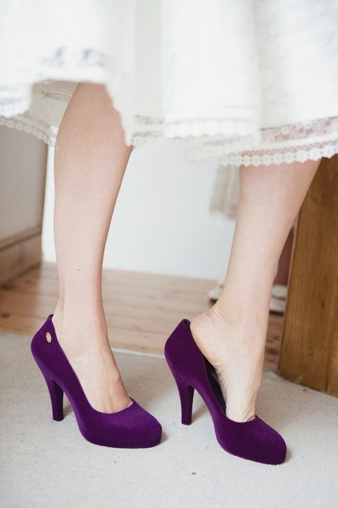 purple suede wedding shoes for a colorful touch to the bridal look