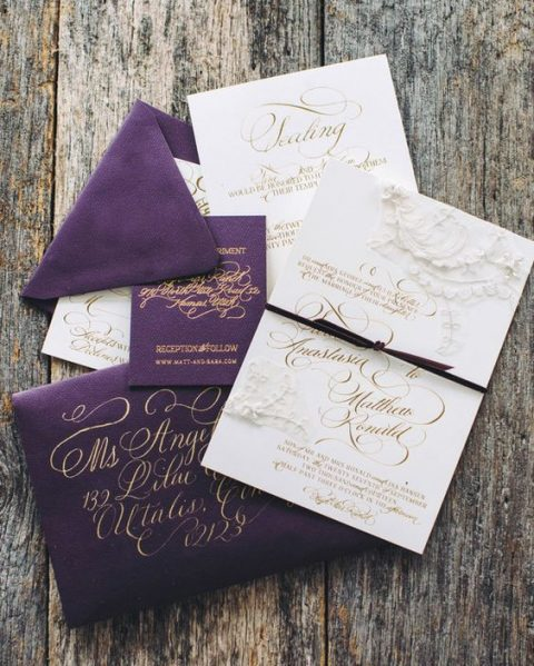 refined purple and white wedding invitation suite with gold calligraphy