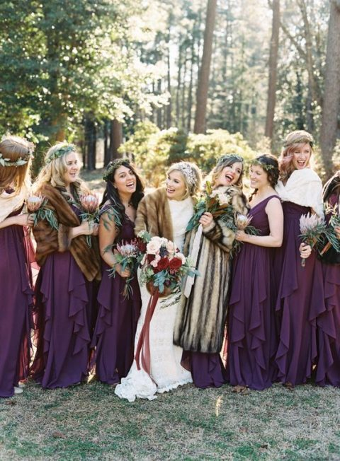 ruffled purple maxi dresses with thick straps and faux fur stoles
