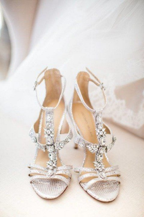 strappy silver glitter and embellished wedding shoes
