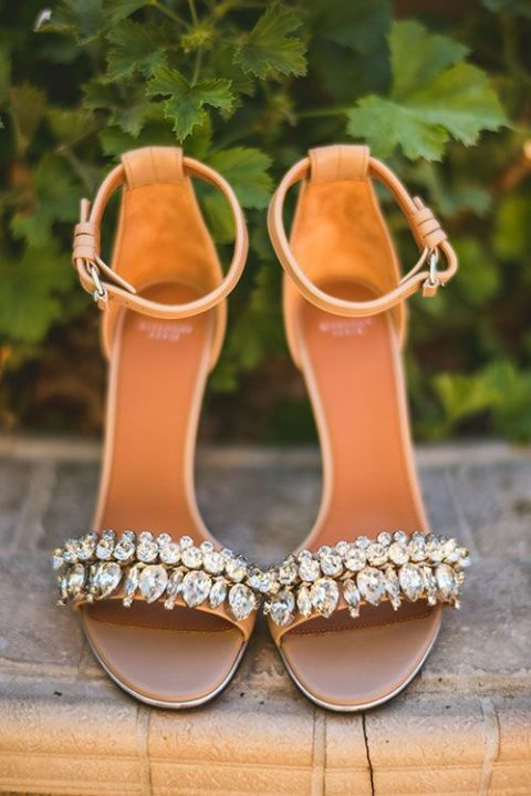 tan heavily embellished wedding sandals with ankle straps